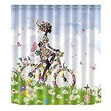 romantisches Blumen-Fahrrad Mädchen Baden wasserdicht Bade-Duschvorhänge, Polyester Bad Vorhang Dekor, 01, 180x200