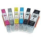 851XL 850XL Cartucho de Tinta, Adecuado para Canon iP7280 MG5480 MG6380, Gran Capacidad Buen Reconocimiento y Rendimiento Estable Imprime Claramente, No DañArá la Impresora,6 Colors in a Set