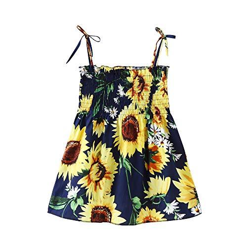 Fesjoy Halfter Sonnenblumenkleid für Mädchen Baby Mädchen Blumen Sommerkleid Elastic Strap Print Strandkleider Lässig für Kleinkinder Kinder Kinder 2-7 Jahre alt Halfter Sonnenblumenkleid für Mädchen