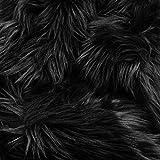 Barcelonetta   Faux Fur Squares   Shaggy Fur Fabric Cuts, Patches   Craft, Costume, Camera Floor & Decoration (Black, 10' X 10')