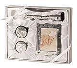 Kit bébé argent comprenant Cadre d'image, 2 Boîtes pour Dents de lait et cheveux, Tube pour certificat de naissance 22 x 26,5 cm