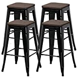 YAHEETECH 26inch barstools Set of 4 Counter Height Metal Bar Stools, Indoor Outdoor Stackable Bartool Industrial with Wood Seat 331Lb, Black