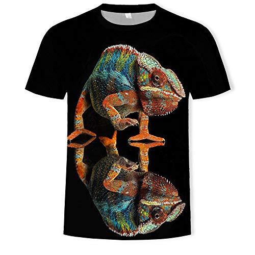 Camiseta Animal 3D Impresión Digital Cuello Redondo Mangas Cortas.-B12_6XL