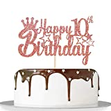 Rose Gold Glitter Happy 10th Birthday Cake Topper for Cheers to 10 Years/Children Boy Girl 10th Birthday Party Decorations Supplies - High Grade Color