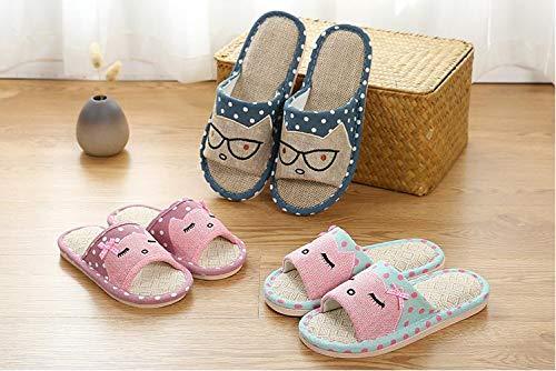 APIKA Linen Couple Home Slippers bedroom flax slipper Japanese Style Child Fun Cartoon Slippers Breathable Non-Slip Bottom Light Gift with Love