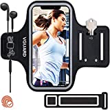 VGUARD Sportarmband Handy,Schweißfest Joggen Handytasche Laufen mit Schlüsselhalter, Kopfhörerloch und Verlängerungsband für Phone 12 Pro MAX/iPhone 11/11 Pro/XR/XS- Schwarz (5'-6,5')