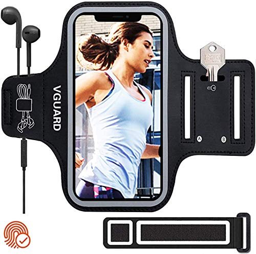 VGUARD Sportarmband Handy,Schweißfest Joggen Handytasche Laufen mit Schlüsselhalter, Kopfhörerloch und Verlängerungsband für Phone 12 Pro MAX/iPhone 11/11 Pro/XR/XS- Schwarz (5