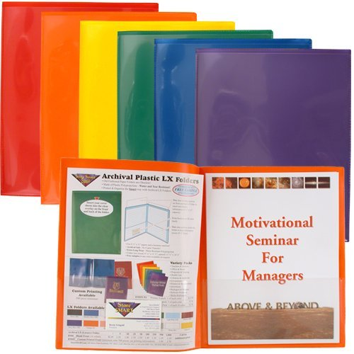 StoreSMART Plastic Archival Folders Primary Colors 6-Pack: 1 Each of Six Bright Colors (R900PCP6)