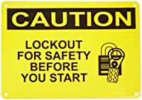 """Master Lock S8101 14"""" Width x 10"""" Height Polypropylene, Black on Yellow Safety Sign, Header """"Caution"""", Legend """"Lockout For Safety Before You Start"""" (with Picto)"""