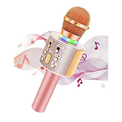 QCHEA 3-en-1 Regalos portátil de Mano Karaoke Mic Home Party cumpleaños, Karaoke Micrófono inalámbrico con Altavoz Pro for niños Máquina Altavoz for Android y el teléfono de PC