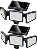 Solar Light Outdoor, LED Security Light with Motion PIR Sensor with 210 LED 2500LM, IP65 Waterproof, 3 Adjustable Heads, 270° Wide Angle, Outdoor Flood Light for Garage Porch Garden Yard - 2 Pack
