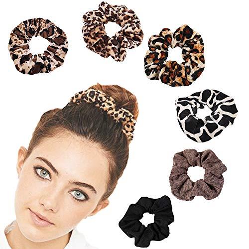 SEDEX 6 Stück Haargummi Samt Tuch Crunchies Mädchen Einfarbig Leopardenmuster Haarbänder Zubehör Haargummis Elastische Skrunchy Weihnachtsgeschenk für Frauen