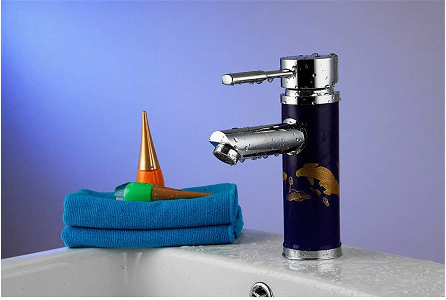 Oudan Bathroom Sink Basin Tap Brass Mixer Tap Washroom Mixer Faucet The colord ceramic single hole bathroom faucet is a water faucet Kitchen Sink Taps