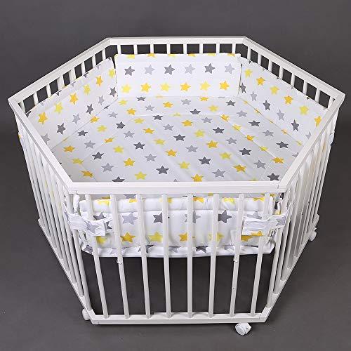 Laufgitter Laufstall 6-eckig, Baby Krabbelgitter inkl. Stoffeinlage 3-fach höhenverstellbar WEISS 52304W-D01
