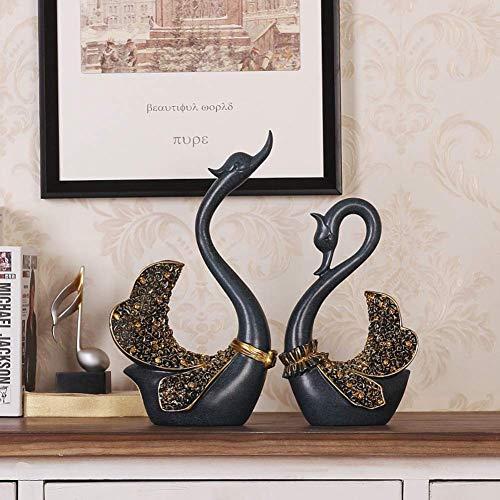 Europeo cigno ornamenti scultura, Creative resina statua Camera da letto Casa Libreria Caldo Personalizzato mestieri arredi piccoli gioielli decorazione-A H36cm(35,6 cm)