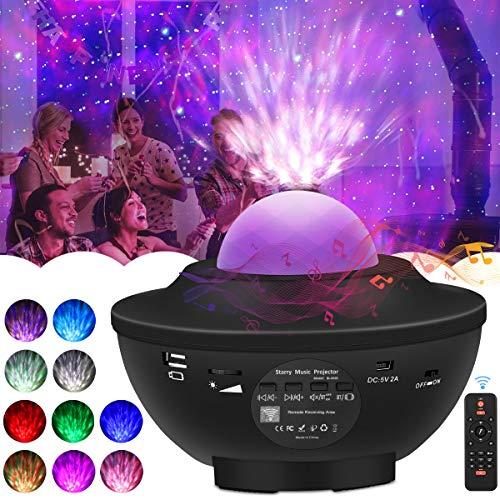 Sternenhimmel Projektor LED Lampe, Baby Led Projektor Nachtlicht Sternenhimmel mit Bluetooth Lautsprecher-Musik, Auto-off-Timer und Fernbedienung für Ballsaal,Geburtstagsfeier, Bar, Familientreffen