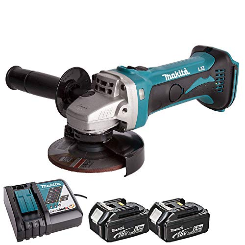 Makita DGA452Z 18V 115mm Cordless Angle Grinder with 2 x 5.0Ah BL1850 Batteries & DC18RC Charger