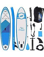 Fixget Stand-up SUP-board, uniseks, 10 voet 33 inches 330 pond laadcapaciteit instelbaar opblaasbaar 6 inch dik surfboard set, blauw