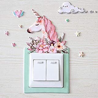 Luminous Switch Stickers Lovely Cartoon Unicorn Pig Hedgehog PU Switch Sticke Kids Rooms Bedroom Home Decoration Wall Stic...