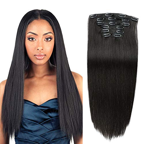 14 Inch Clip in Human Hair Extensions,Natural Black Double Weft Real Human Hair Extensions 7pcs 70g Clip in Remy Hair Extensions