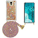 Mkej Funda con Cuerda para Samsung Galaxy S5, Carcasa Glitter Mujer Liquida Cristal Transparente TPU Silicona Case con Correa Colgante Ajustable Collar, [Arcoiris]