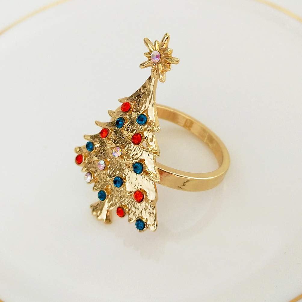 Kisangel 4pcs Christmas Tree Napkin Ring Rhinestone Crystal Napkin Holder Xmas Napkin Buckles for Holiday Wedding Dining Setting Decoration Silver