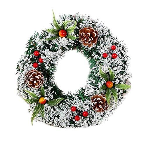 TOYANDONA Ghirlanda Artificiale Di Natale Verde Innevato Pigna Bacche Rosse Ghirlande Invernali Per Decorazioni Per Matrimoni Da Parete Per Porte Interne 30Cm 200G