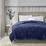 Madison Park Coleman Cozy Reversible Blanket, Luxury Plush Season Down Alternative Cover for Bed, Couch and Sofa, Twin/Twin XL(66'x90'), Navy