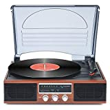Record Player Bluetooth Turntable with Stereo Speakers Portable Belt-Driven Nostalgic LP Vinyl Record Player with FM Stereo Radio Line Output (Renewed)