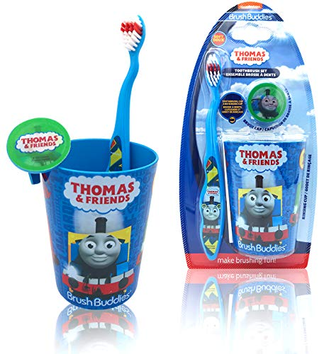 Thomas and Friends Happy Brushing Time Toothbrush Set - Soft Bristle Manual Toothbrush, Protect Cover Cap, Rinsing Cup for Kids Girls Boys