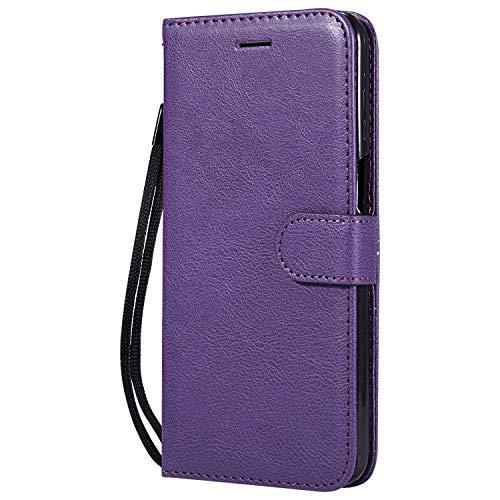 Hülle für Moto Z3 / Z3 Play Hülle Handyhülle [Standfunktion] [Kartenfach] Tasche Flip Hülle Cover Etui Schutzhülle lederhülle flip case für Motorola Moto Z3 Play - DEKT051403 Violett