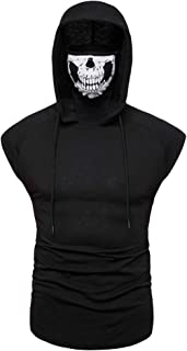Men's Mask Skull Pure Color Pullover Sleeveless/Long Sleeve Hooded Sweatshirt Tops Blouse