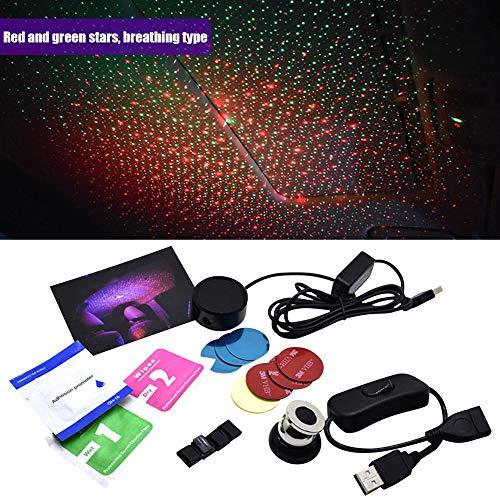 BRANDNEWS projectielamp, Starlight Lights in de auto aangepast auto-interieur USB-sfeerverlichting sterrenhemel sfeerverlichting sterrenprojectie decoratie lichten groen & blauw Exception