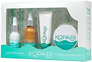 Kopari Coconut Multitasker Kit - This Hydrating, Travel Size Kit Includes Our Coconut Melt, Coconut Sheer Oil, Coconut Balm and Coconut Body Glow to Help Create Moisturized, Healthy Skin
