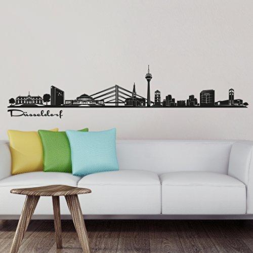 Wandkings Skyline - Deine Stadt wählbar - Düsseldorf - 125 x 22 cm - Wandaufkleber Wandsticker Wandtattoo