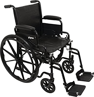 """ProBasics Standard Wheelchair - Flip Back Desk Arms - 250 Pound Weight Capacity - Black - Swing-Away Footrest - 20"""" x 16"""" Seat"""