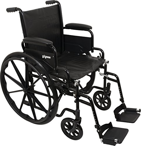 """ProBasics Standard Wheelchair - Flip Back Desk Arms - 250 Pound Weight Capacity - Black - Swing-Away Footrest - 18"""" x 16"""" Seat"""
