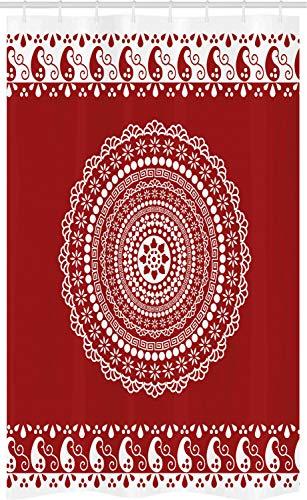 ABAKUHAUS Red Mandala Schmaler Duschvorhang, Paisley Seitenrand, Badezimmer Deko Set aus Stoff mit Haken, 120 x 180 cm, Bordeauxrot & Weiß