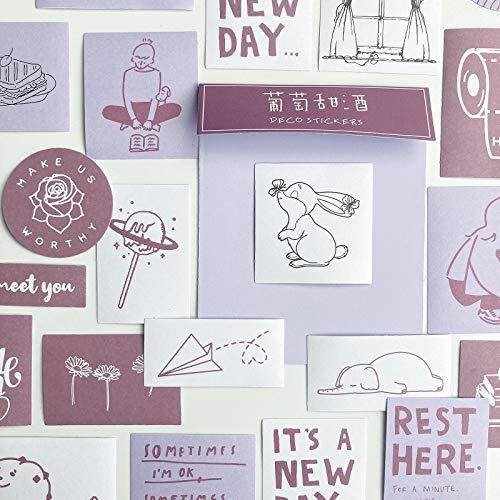 TNYKER シール フレークシール 手帳ステッカー 手描き イラスト 韓国風 スケジュール 手帳 ノート 手紙 カレンダー シンプル おしゃれ かわいい 60枚セット えびいろ
