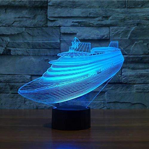 Optische illusie lamp kruisvaartschip modelleer USB tafellamp 3D 7 kleuren atmosfeer veranderende LED boot nachtlamp baby slaap verlichting slaapkamer decor geschenken