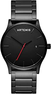 ARTEMIS Watch Black Face With Black Stainless Steel Bracelet Red Second Hand Men's Wrist Wear