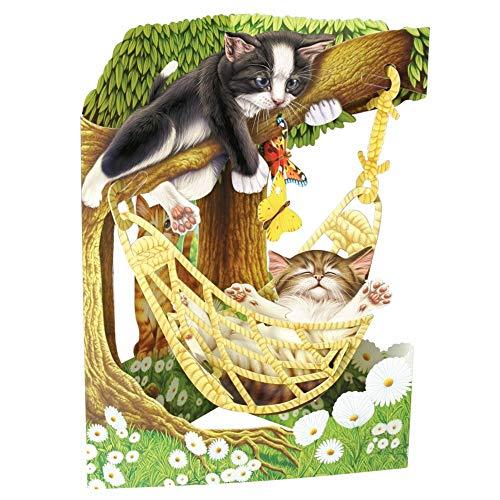Katten in Hangmat Swing Card - Santoro 3D Pop-Up Groeten & Verjaardagskaart voor Haar