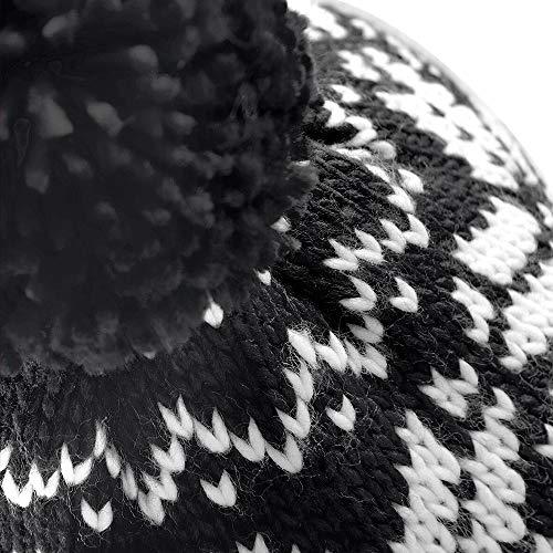 Beechfield Unisex Fair Isle Snowstar Winter Beanie Hat (Black / Classic Red / White)