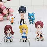 Mdcgok XFHJDM-WJ Doll 6 unids/Set Fairy Tail PVC Figura Modelo Natsu Happy Lucy Gray Elza Toy Figuras de acción-0312