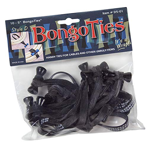 "BongoTies ALL-BLACK ""Obsidian"" Bongo Ties ~ 10 Pack ""Style-D"" ~ HANDY TIES FOR CABLES AND OTHER UNRULY ITEMS"