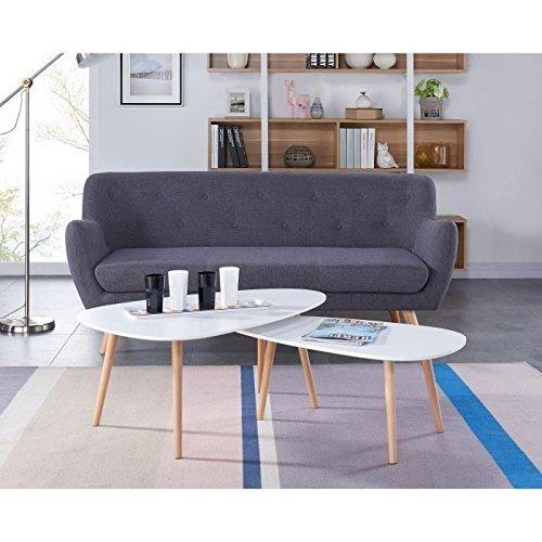 KIVI Lot de 2 tables basses gigognes scandinave blanc laqué mat - L 98 x l 61 et H 39 x l 48 cm