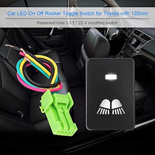 Interruttore a bilanciere 12V Impermeabile LED Interruttore a bilanciere a luce bianca Interruttore di accensione/spegnimento automatico per Camery Yaris Highlander Prius Carora(SPOTLIGHT)