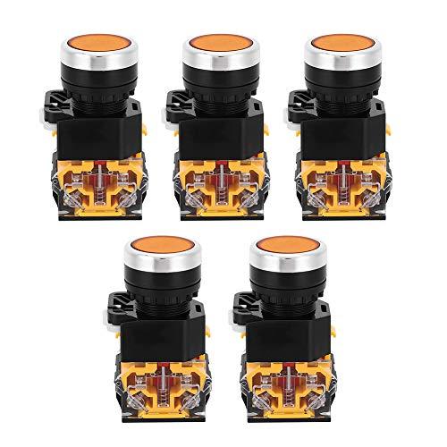 5 uds botón pulsador de emergencia 22mm 37V-440V interruptor de botón de plástico interruptor de botón de reinicio automático sin luz(naranja)