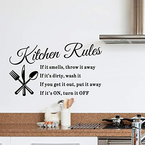 DIY Cooking Wall Stickers Removable Kitchen & Dining Room Wall Decal Kitchen Rules Art Home Mural Décor Vinyl Wall Art Inspirational Quotes Decorations (Kitchen Rules)