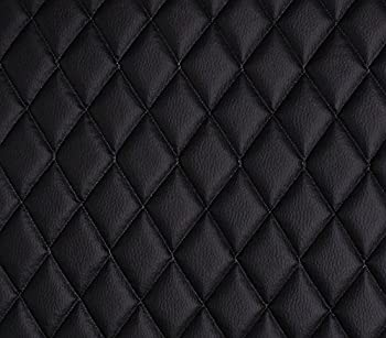 Vinyl Grain Texture Quilted Foam Fabric 2  x 3  Diamond with 3/8  Foam Backing Upholstery / 52  Wide/Sold by The Yard/FABRIC EMPIRE  Black
